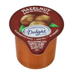 Hazelnut flavored International Delight liquid creamer, sold by the case of 192. Non-dairy.