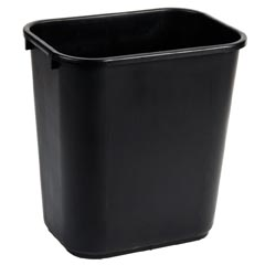 28 Quart Black Desk Side Rectangular Plastic Wastebasket