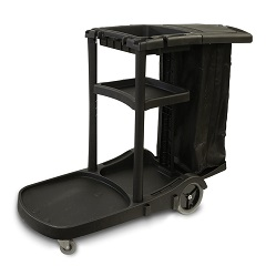 3 Shelf Janitor Cart With Trash Cover, Vinyl Bag, 3 Shelves And Holds Up To 36Qt Bucket